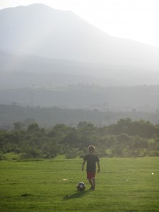 Benicio (age 6) playing soccer in the mountains of mid Mexico